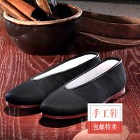 老北京布鞋男手工牛皮底老头鞋父亲鞋中式圆口老布鞋秋季新品单鞋