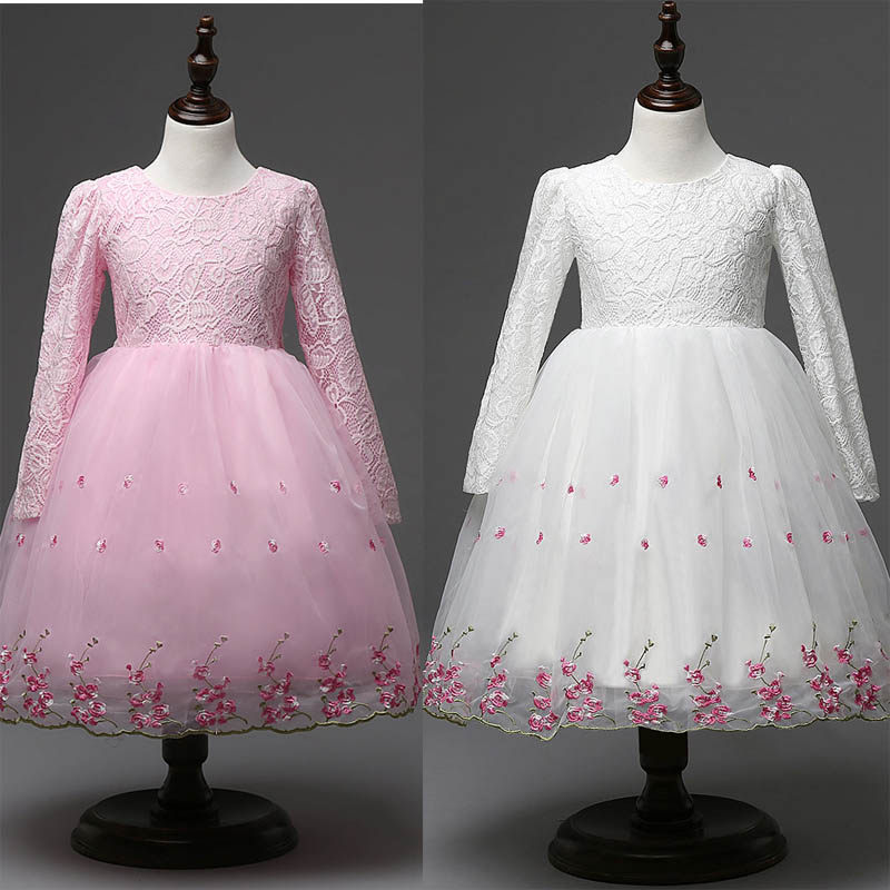 2016 lace embroider girls princess dress kids' skirt clothes