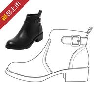 欧洲站时尚新潮2015冬季女靴明星大牌同款粗中跟马丁靴厚底女靴