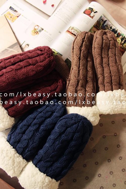 Перчатки Специальное предложение Южной Кореи приобрести шерстяные перчатки шерсти ягнят двойной толстой сплошной твист, вязание варежки