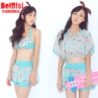 Betis 2015 new sweet sexy female swimsuit small chest gather denim smock split bikini sunscreen