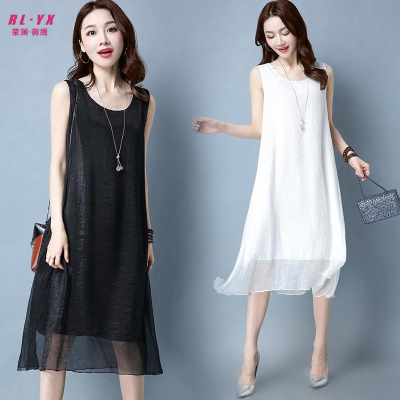 夏季女装黑白色中长款打底衫大码宽松性感内衬百搭背心吊带连衣裙