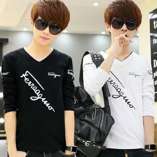 2015秋季男士长袖T恤V领印花修身打底衫韩版新款体恤潮男装上衣服