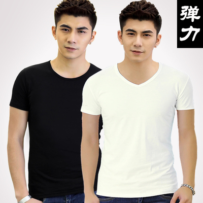 Men's V-neck short-sleeved T-shirt Korean tight Lycra cotton solid color blank white undershirt sports and fitness bottoming shirt