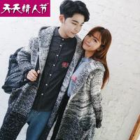 2016情侣装韩版渐变色潮流男女中长款开衫针织衫毛衣外套班服风衣