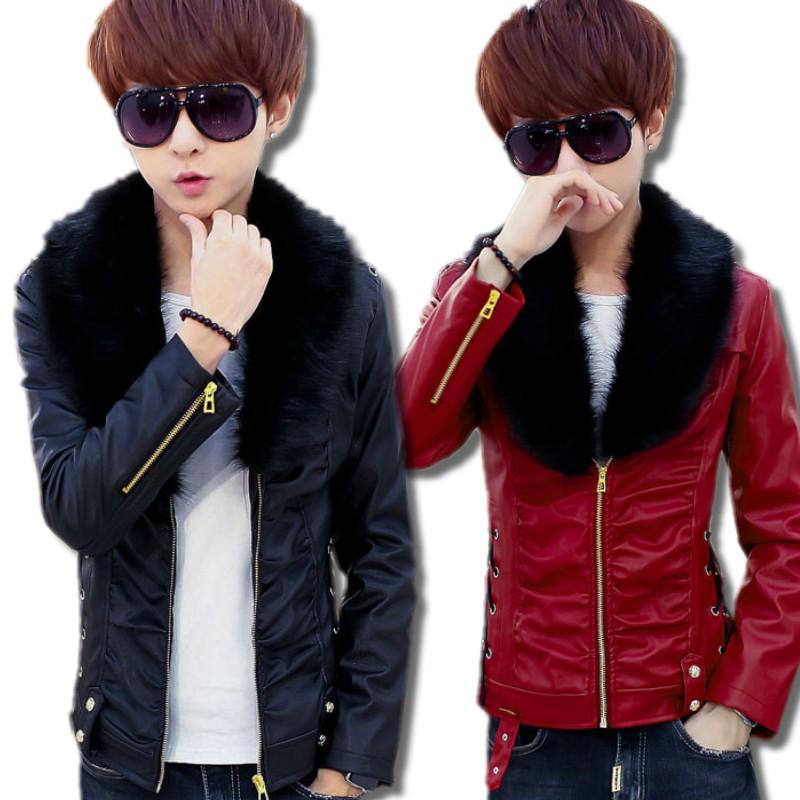 冬季新款PU皮衣男加绒韩版青少年翻领皮夹克修身男士大毛领外套潮