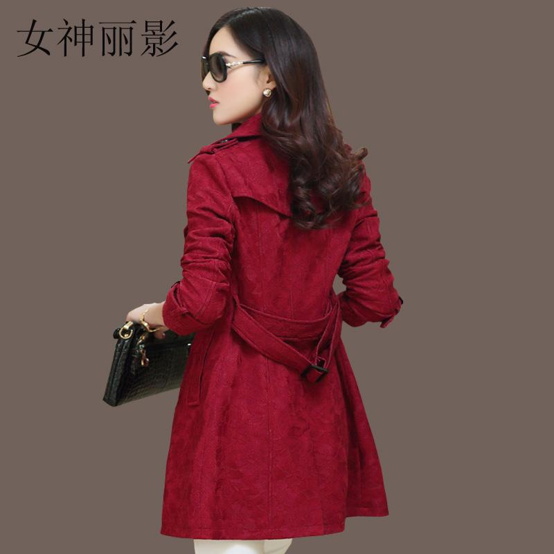 女式风衣2015秋原创新款韩版修身蕾丝POLO领大码女装中长款外套潮