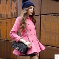欧洲站2014秋冬新款女装 双排扣毛呢外套女 复古粉色荷叶边大衣