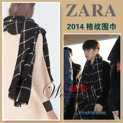 Couple girlfriends ZARA 2014 new winter men Plaid sided soft scarf shawl 4219/201