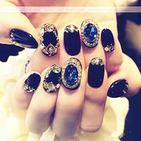 成品美甲黑色复古大宝石闪耀钻石光疗贴片