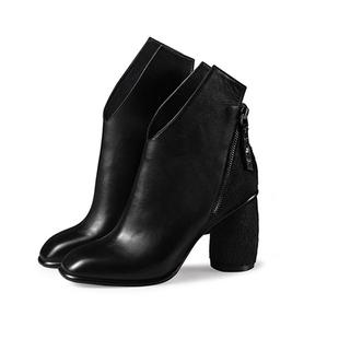秋冬新款欧美真皮短靴子女士粗跟鞋高跟女鞋短筒女靴子马毛马丁靴