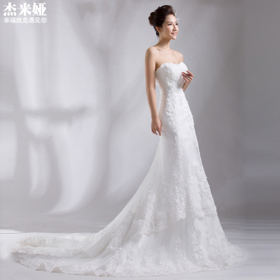 Fishtail wedding dress 2014 new bride trailing Korean Fashion Bra straps lace red winter big yards