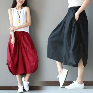 2019春夏棉麻大码女装灯笼裤阔腿七分裤名族风宽松女士裤