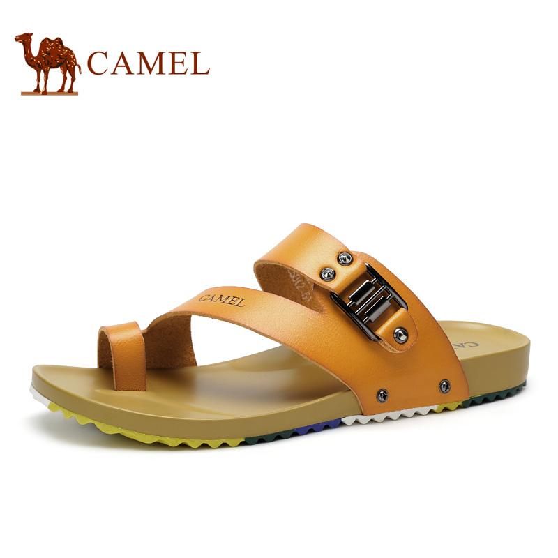 骆驼男鞋2015夏季新款透气男士拖鞋休闲舒适套趾凉鞋男高档拖鞋