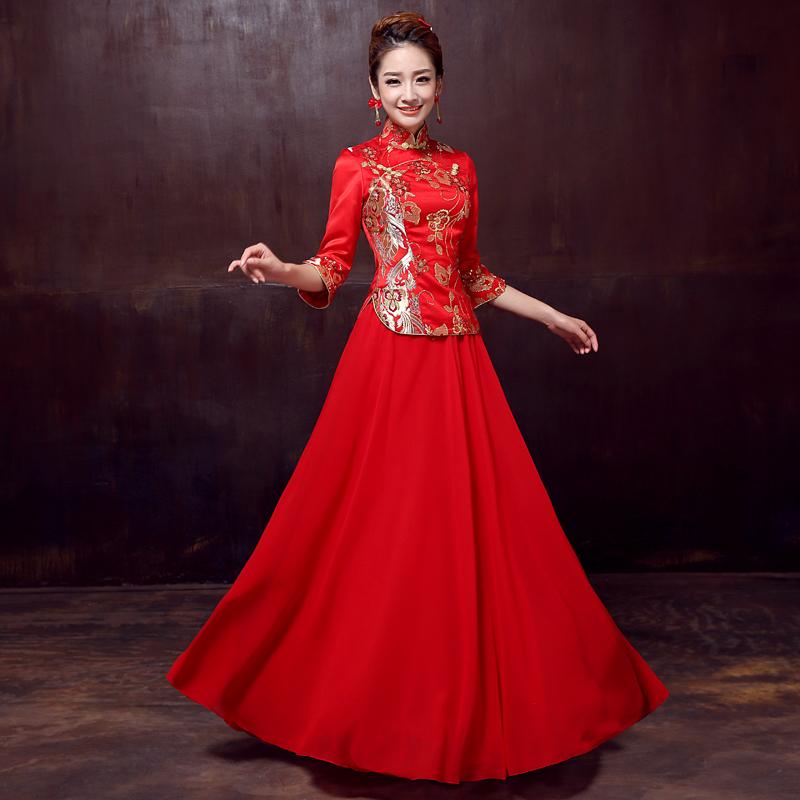 2014新款旗袍中式新娘结婚礼服长款修身七分袖红色敬酒服改良旗袍