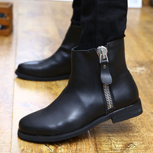 Tube male boot the new summer 2014 in men's fashion casual shoes zipper boots in England han edition of men's shoes
