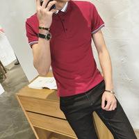 夏装新款男士港风短袖T恤韩版修身简约翻领螺纹袖polo衫