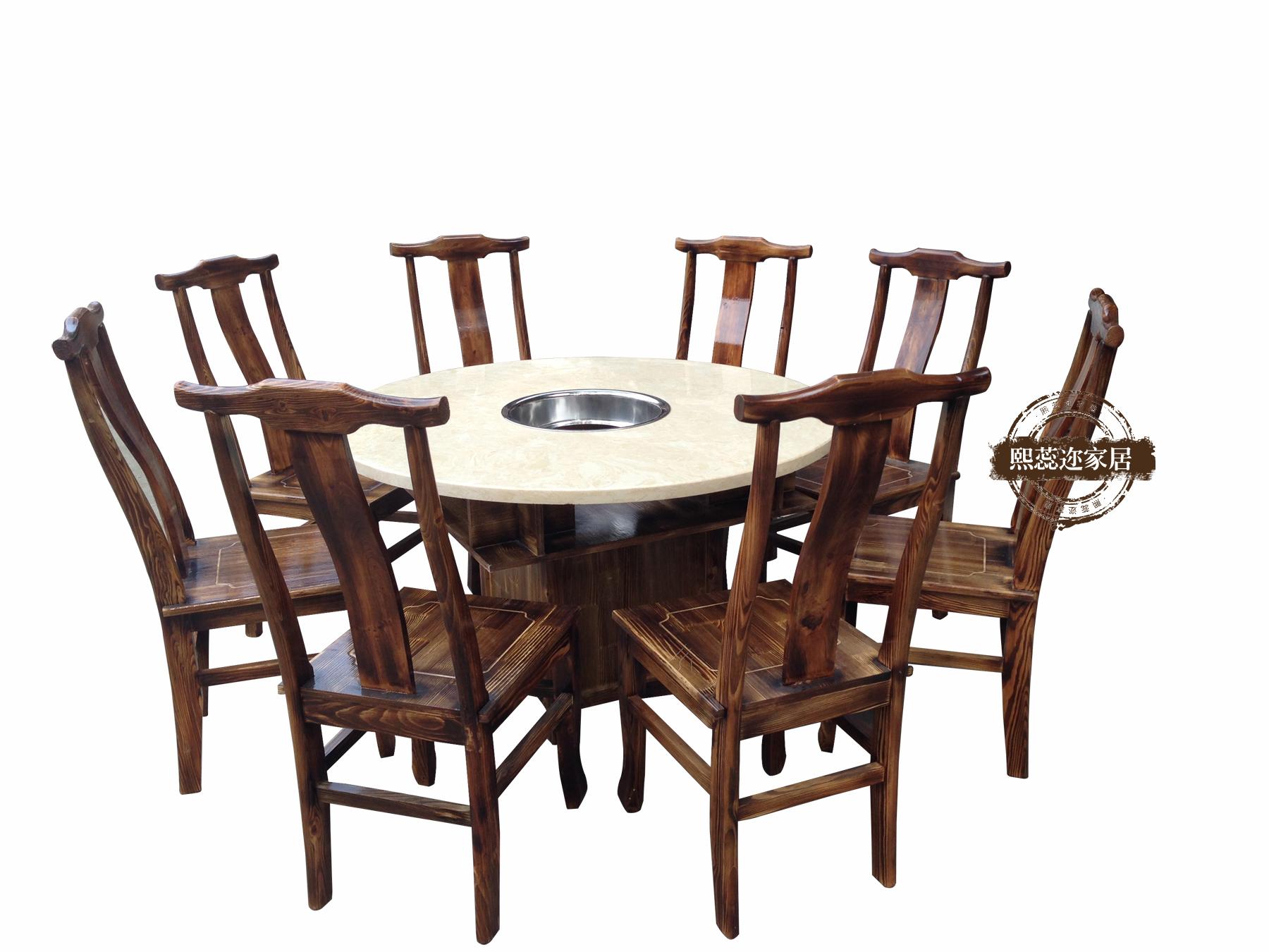大理石 火锅桌 火锅店餐桌组合批发 煤气灶电磁炉实木火锅桌 定做图片
