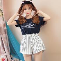 短袖睡衣女夏天少女学生可爱韩夏季薄款棉质女士家居服短裤套装