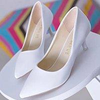 16职业女鞋漆皮尖头高跟鞋休闲鞋工作鞋单鞋中跟鞋红色婚鞋细跟女