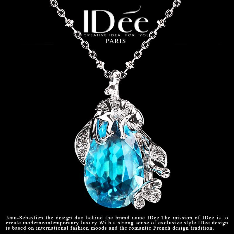 法国IDee蓝宝石项链女 时尚水晶海洋之心吊坠 创意连衣裙饰品礼物