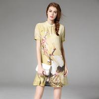 旗袍短款改良中国风短袖盘扣修身显瘦桑蚕丝麻印花复古连衣裙夏季