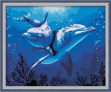 Digital painting diy special scenery couple sitting room adornment hand-drawn characters Dolphins love 40 * 50