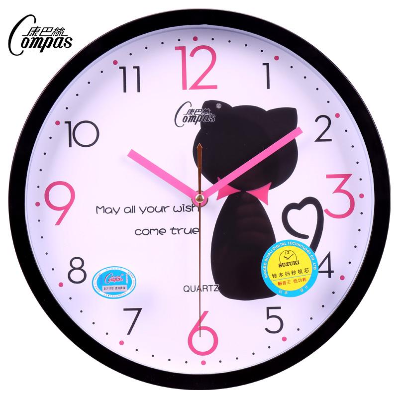 康巴丝12英寸时尚钟表客厅大挂钟卧室静音时钟石英钟创意卡通挂表