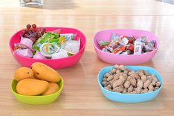 Four color Fruit Container Storage Tray Snack Fruit Plate