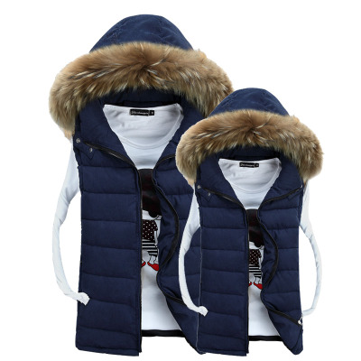 Norwich Mori new autumn and winter fur collar men's vest vest Slim male Korean version of casual lovers thick cotton vest jacket
