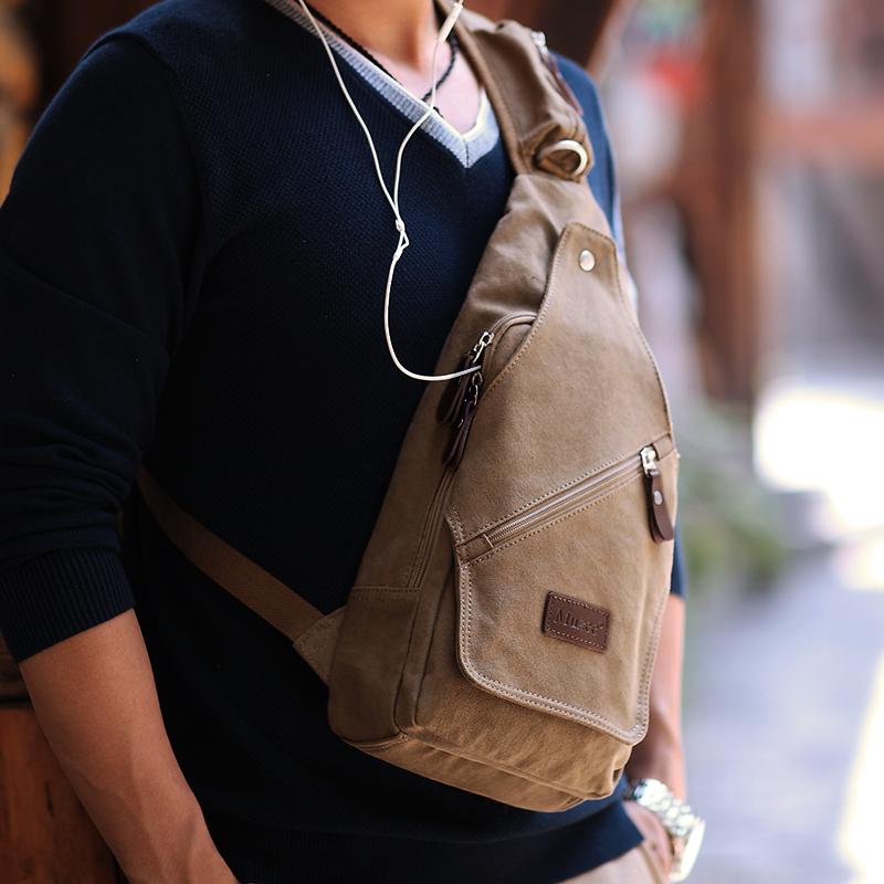 牧之逸大容量胸包男士韩版潮流单肩包户外运动背包休闲帆布斜挎包
