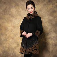 中老年女装毛呢外套中长款妈妈秋冬装大码中年呢子大衣40-50-60岁