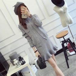 2016秋装女装包芯纱时尚针织套装鱼尾裙开衫外套连衣裙修身两件套