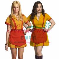 新款金典还原圣诞美国情景剧原型破产姐妹cos裙酒吧黄色制服围裙