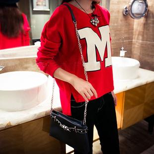 新款秋装韩版短款开叉套头学生T恤女长袖卫衣宽松加绒字母不规则