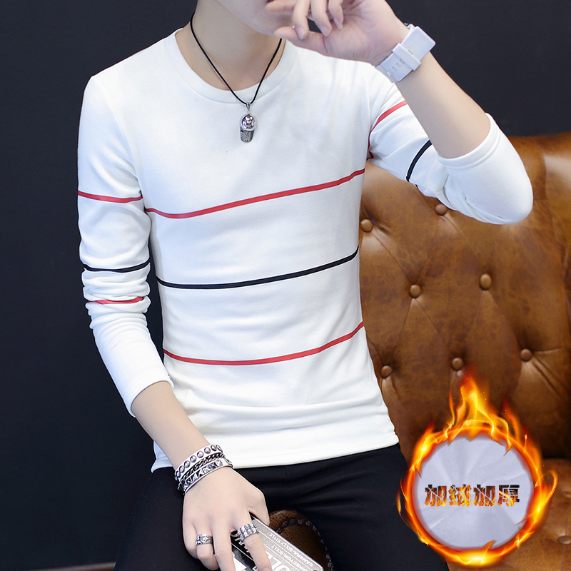 冬季长袖T恤男韩版修身加绒打底衫青年男士圆领小衫保暖套装秋衣