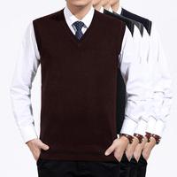 羊毛衫背心男士新款羊绒马甲中老年套头针织线衫V领坎肩大码纯色