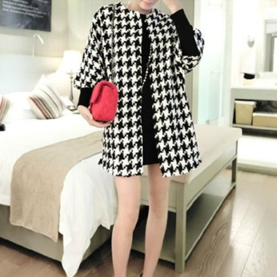 Europe Autumn 2014 new winter long sections Women Korean Houndstooth wool coat sleeve woolen coat