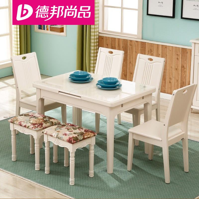 德邦尚品 北欧大理石餐桌椅组合4人 特价出售