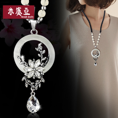Christmas gifts national wind opal wild retro sweater chain long necklace long section with clothes ornaments