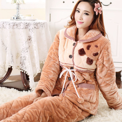 Female coral velvet quilted winter pajamas suits thick warm winter cartoon quilted flannel tracksuit