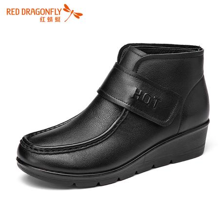 红蜻蜓女鞋 秋冬正品真皮女士短靴皮鞋 坡跟圆头低帮鞋休闲妈妈鞋商品大图