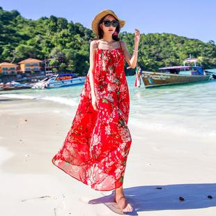 沙滩裙女夏季2018大码海边度假裙子显瘦泰国普吉岛红色连衣裙