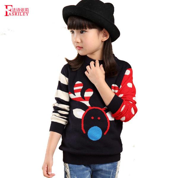 男童打底衫长袖_女童装儿童针织衫长袖打底衫大女童套头毛衣条纹长袖外套麋鹿图案