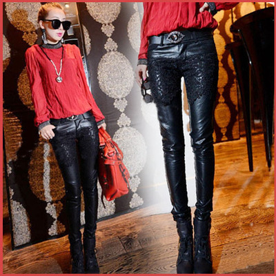 European euro 2014 Korean goods new feet show thin leather pants female trousers of qiu dong han edition tide leisure pencil pants