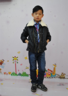 2014 winter children's clothing boys casual seaside Liston thick cotton baby PU leather jacket leather jacket