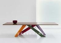 北欧风loft铁艺实木餐桌办公桌电脑桌做旧书桌咖啡桌会议桌子包邮