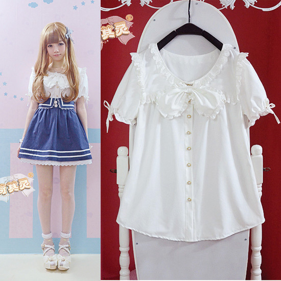 Exclusive Meng Meng sauce harsh harsh summer girls wear loose doll flounced lantern sleeve shirt white shirt