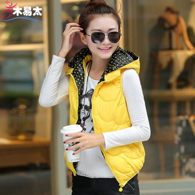 Wood is too easy to fall and winter leisure big yards vest female Korean fashion hooded vest waistcoat vest female short paragraph tide