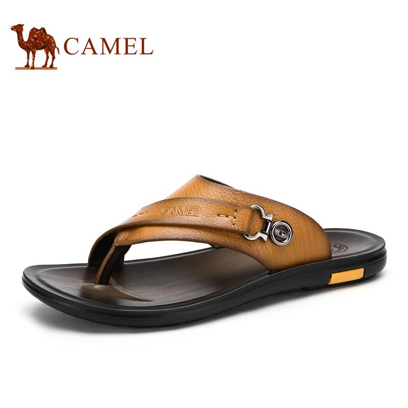 骆驼2015夏季新款男士高档凉拖鞋夏天真皮防滑人字拖沙滩凉鞋男潮